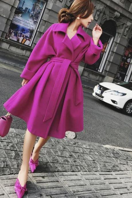 Beautiful Magenta Trench Coats for Women Plus Sizes 6XL,7XL