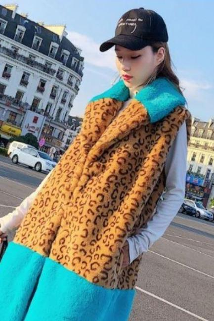 New Leopard Jacket Winter Vests for Women-New Arrival Womens Leopard Imitation Fur Vests Fake Fur Patchwork Waistcoats J2561