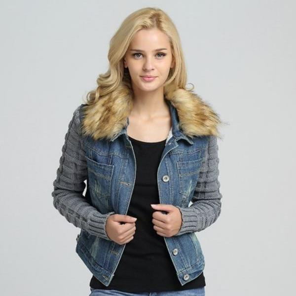 Women's Denim Jacket Ready to Ship Removable Lambs Fur Collar Teen Girls and Womens Jacket