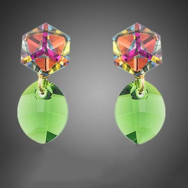Green Earrings Peridot Color Stellux Austrian Crystals