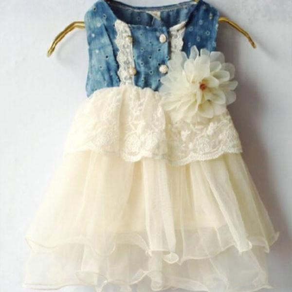 Ivory Dress for Girls with Flower Corsage Ivory Beige Vintage Style Girls Dress