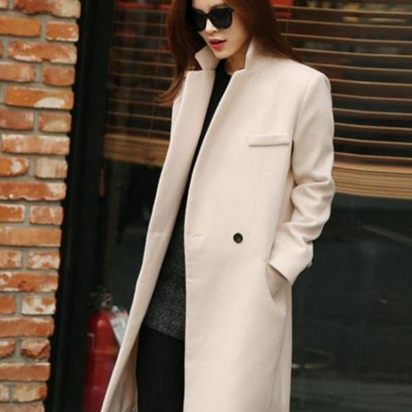 Off White Coats for Women Windbreaker Single Button Long Blazer Coats