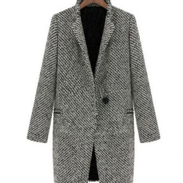 Autumn Spring Jackets Long Blazer Wool Blends Checkered Outerwear