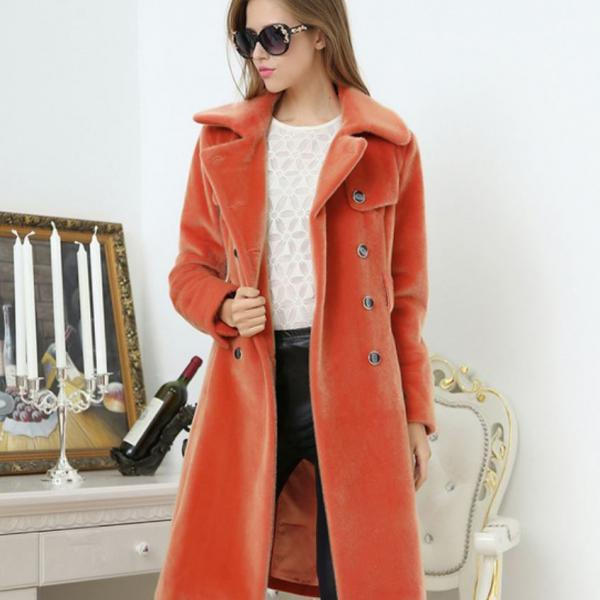 Faux Fur Double Breasted Trench Coat