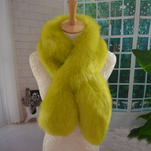 Green Yellow Scarf Neck Warmers for Women Faux Raccoon Fur Super Quality Yellow Scarves