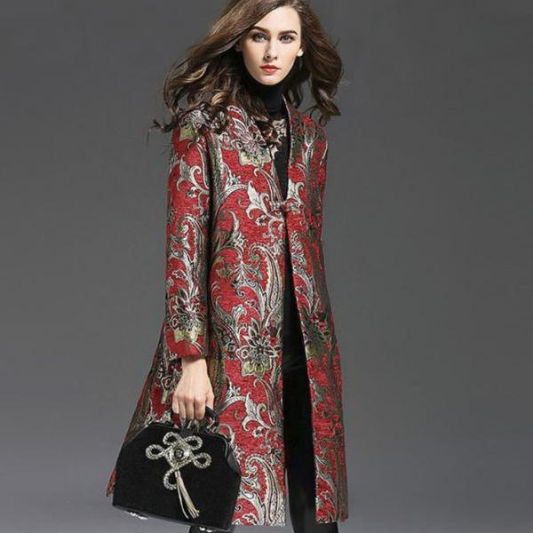 Red Trench Coat Jacquard Royalty Clothing Jacquard Blazers for Women Plus Size 3XL,4XL,5XL