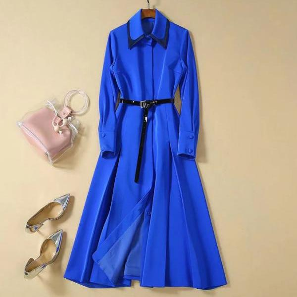 Blue Trench Coat Royalty Clothing Jacquard Blazers for Women Plus Size 3XL,4XL,5XL Blue Blazer Dresses