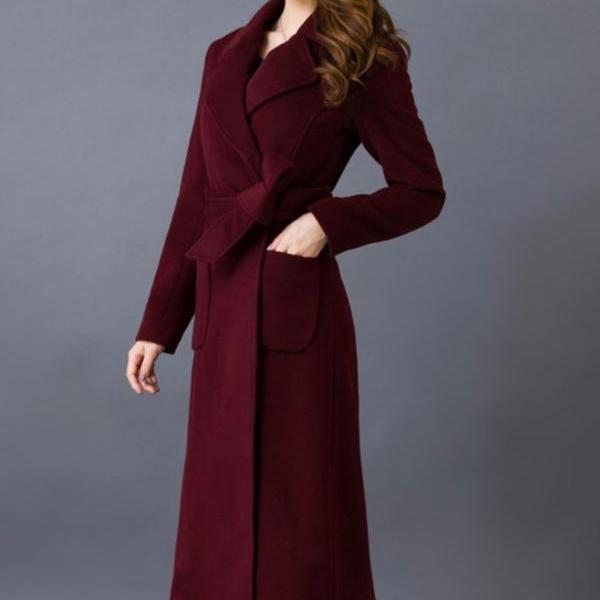 Red Coat for Women Plus Size 3XL,4XL Winter Long Coats Outerwear for Women Deep Red Trench Coats