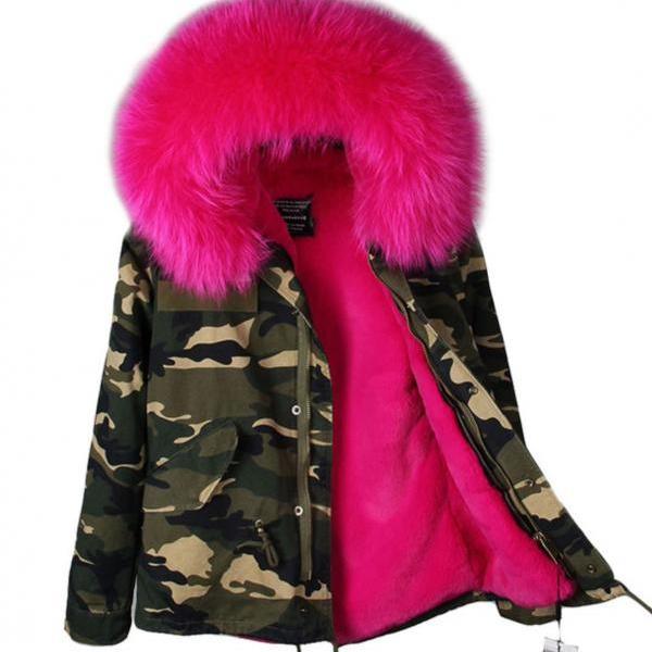 Green Parka for Women with Homogeneous Hood with Raccoon Fur Camouflage Parkas