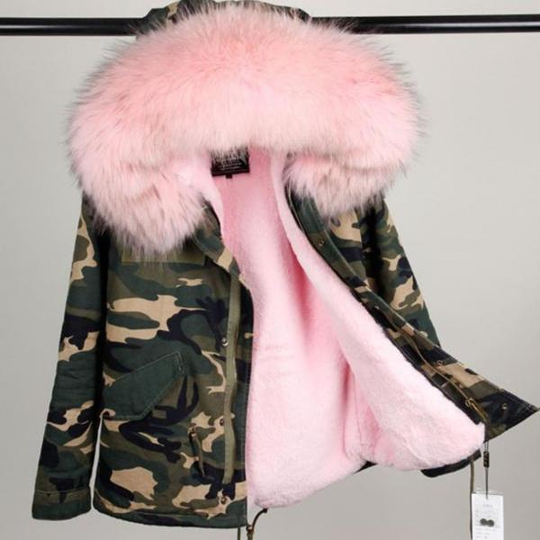 Camouflage Pink Jacket for Women with Huge Very Soft Hood with Raccoon Fur Camouflage Pink Parkas