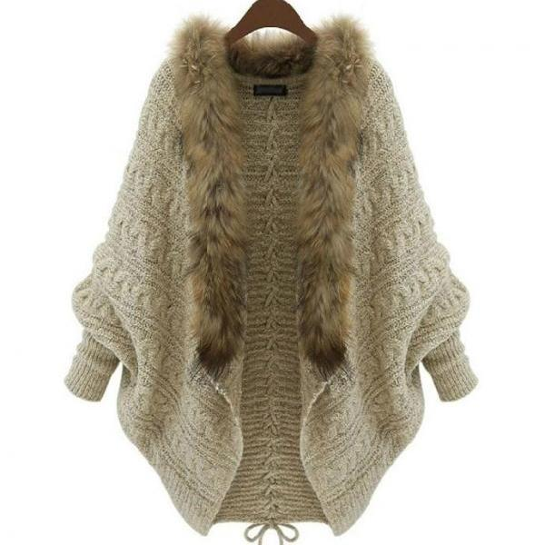 Poncho for Women Oatmeal Color Ready to Ship Knitted Cardigan for Women Oatmeal Color Winter Batwing Sweater with Fur Collar