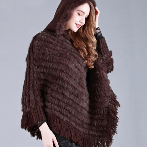 Brown Shawl for Women Brown Capes with Hood Winter Hoodies Striped Hooded Ponchos for Women