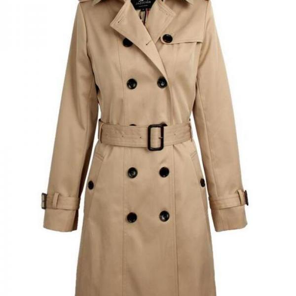 Women's Beige Trench Coat for Women Wind Breaker Fashion Style Long Sleeve Winter Jackets
