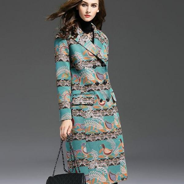 Turquoise Runway Embroidered Royal Prints Retro Trench Coat Elegant Big Sizes M-5XL Turquoise Trench Coat