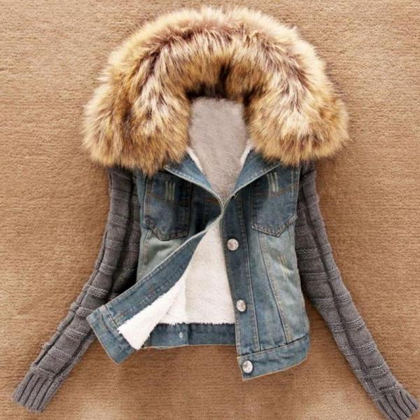 Kids Teen Girls and Women Denim Jackets Knitted Long Sleeves Detachable Fur Collar Fall Jackets Spring