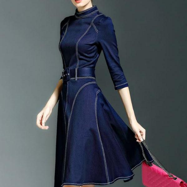 US SIZE 8 Denim Dress High Quality Clothing for Women with Denim Belt Mandarin Collar