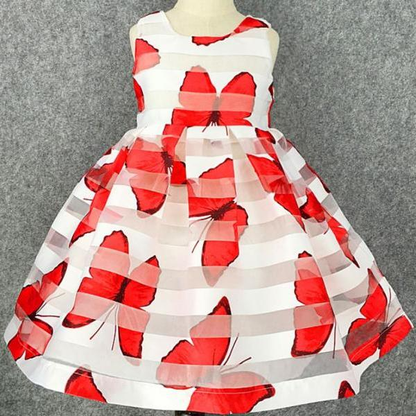 Sleeveless Red Dress 4T Printed Big Butterflies Spring Dress for Girls RSS 2018 Fashion Dress for Girls