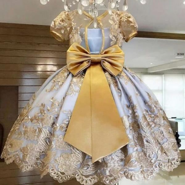 Luxury Dresses for Birthday Girls Ballgown Dress Princesses Tutu with Heavy Embroidery Overall Golden Trim