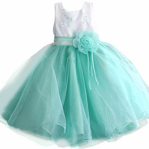 New Pretty Mintgreen Tutu Dress for Girls Mintgreen Corsage with Free Matching Floral Headband for Toddler Girls