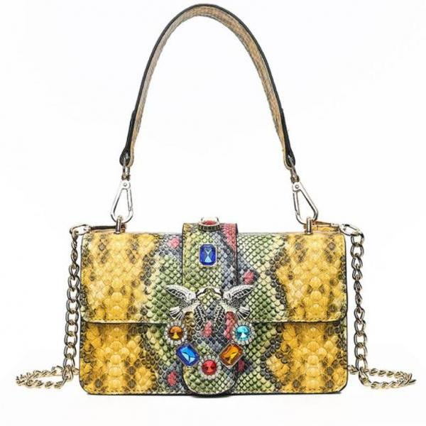 Small Bag Yellow Clutch for Women Snake Pattern 2018 RSS Bags Snake Bags Tote Yellow Purses for Women