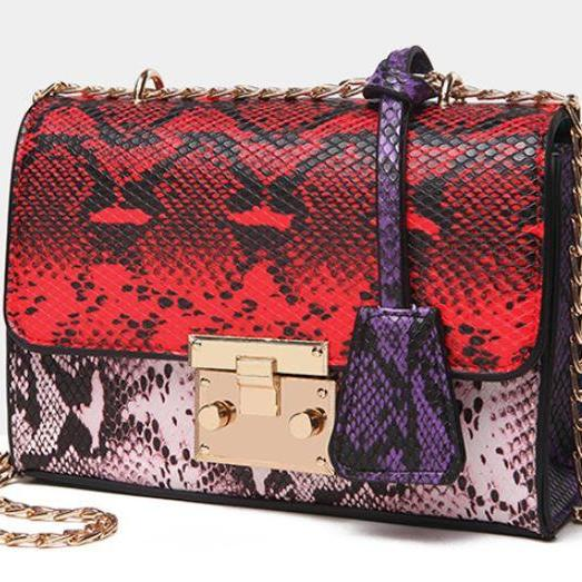 Red Purse Red Clutch-Luxurious Shoulder Bags Snake pattern Red Shoulder Bags I-Phone Case Bags