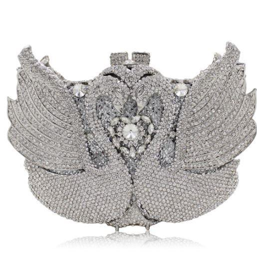 Bridal Clutch Luxury Wedding Silver Swan Evening Clutch Full Crystals Bridal Clutch Bags Lovers Swan Clutches