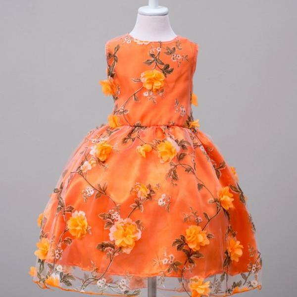 Thanksgiving Outfit, Fall Season Formal Wear Orange Dress Orange Floral Formal Wear Formal Fantasy Girls Dresses