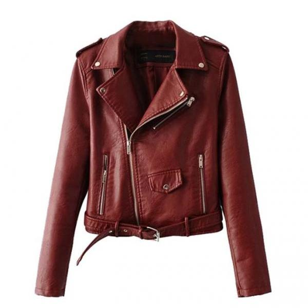 Red Coat Jacket PU Leather Sleeve Fashion Wool Coat for Women Motorcycle Cropped Jackets