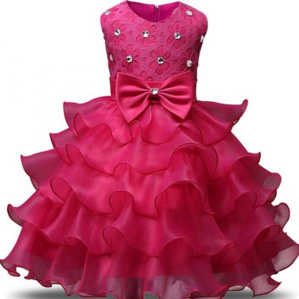 New Dresses for Girls Spring Summer Pink Dress for Toddler Layered Cake Dress for Princess
