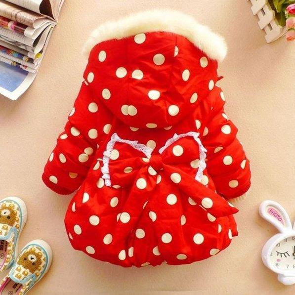 Ready for Shipping 2t Red Polka Dot Jacket for Infant Girls with Big Bow in the Back Hooded Red Parkas