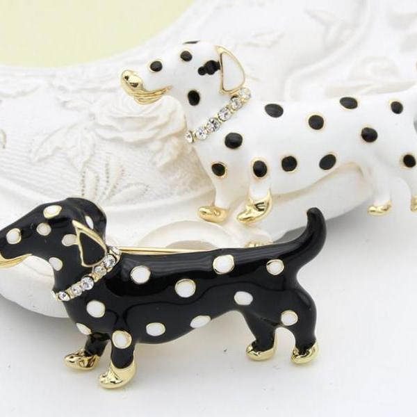 White Brooch White Dog Brooch for Women Pins and Brooch Dalmatian Dog Breed Polka Dots