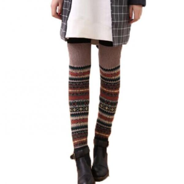 Stripe Brown Leg Warmers-Brown Knitted leg Warmers-Winter Body Accessories for Women