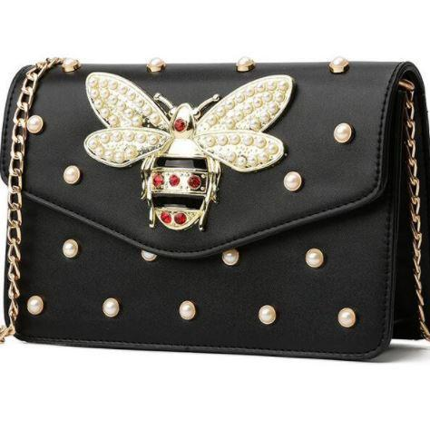 Hot Fashion Bee Clutch for Women Black Purse Black Shoulder Bags Bees Fashion Tote Bags