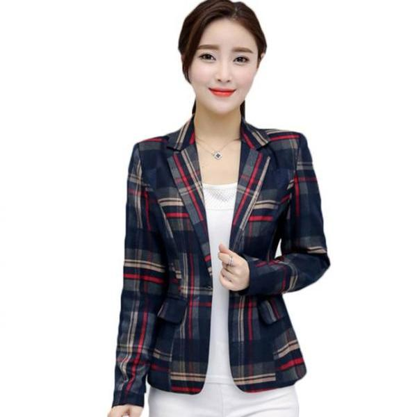 Feminine Work Blazers for Women Plaid Blazer for Women Winter Jackets Casual Formal Jacket Blue Trench Coats