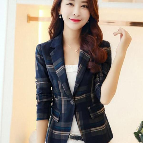 New Trend Work Blazers for Women Fashion Blazers Plaid Blazer for Women Winter Jackets Casual Formal Jacket Blue Trench Coats