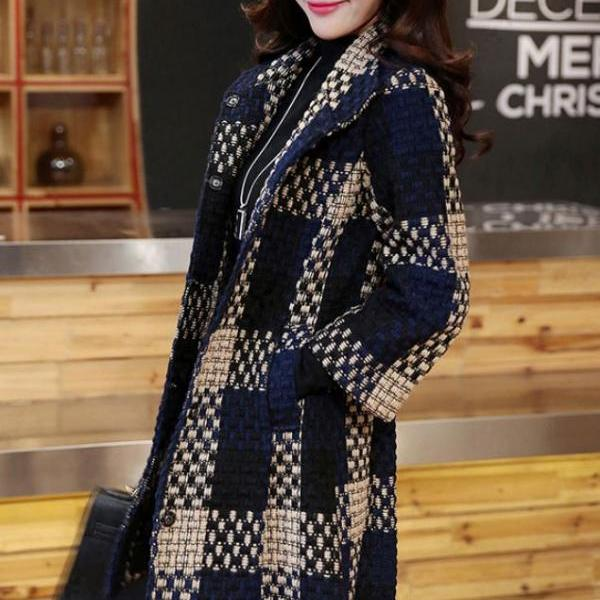 Ready to Ship Navy Blue Trench Coats for Women Navy Blue Blazer Quarter Sleeves Winter Jackets for Women Checkered Plaid