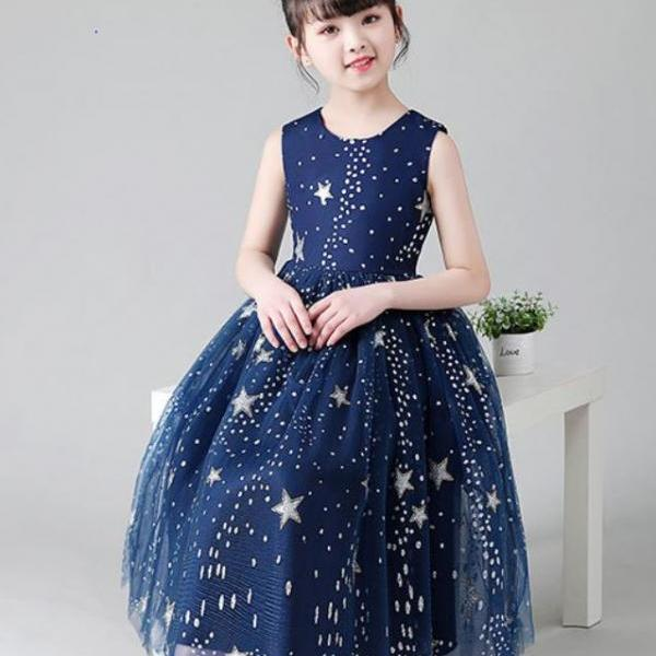 Advance Buy July Fourth Dress for Toddler Girls Patchwork Silver Stars Free Silver Tiara