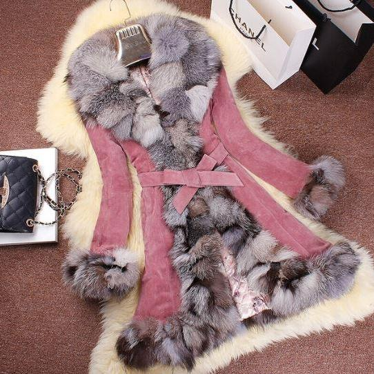 Winter Coats for Women Genuine Leather Coat with Fox Fur Trim Parka Winter Warm Leather Overcoat Long Coat