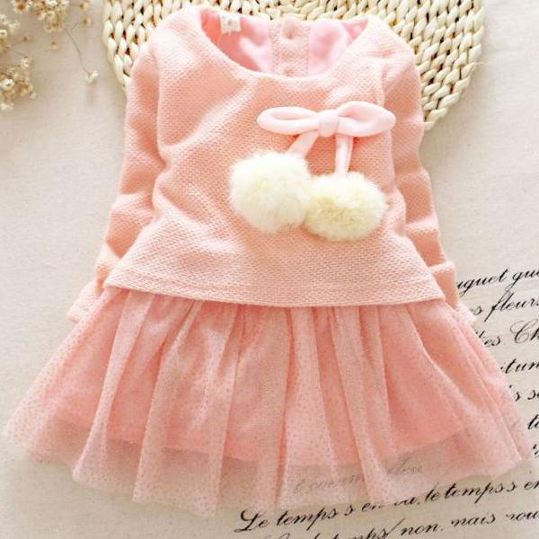 Pink Dress with Pompom Tassel Long Sleeve Cotton Spring Dresses Heart Pattern Tulle
