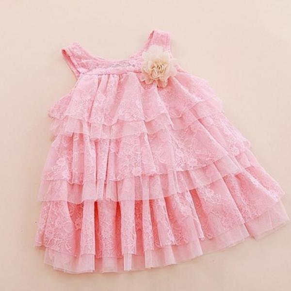 2019 Infant Dress Girls Pink Ballgown Dress Tiered Embroidery Laced Sleeveless Pink Dresses