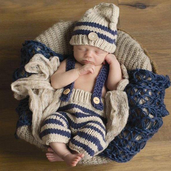 Newborn Boys Props Photography Props Boys Beige Hat Matching Stripe Jumpsuit Navy Blue Hats
