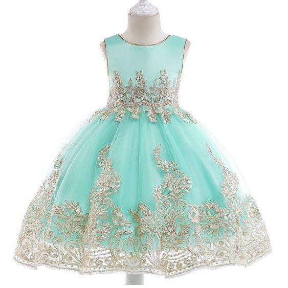 Formal Dress for Girls 5t Mint Dress w/ Matching Golden Headband Ballgown Girls Formal Dress