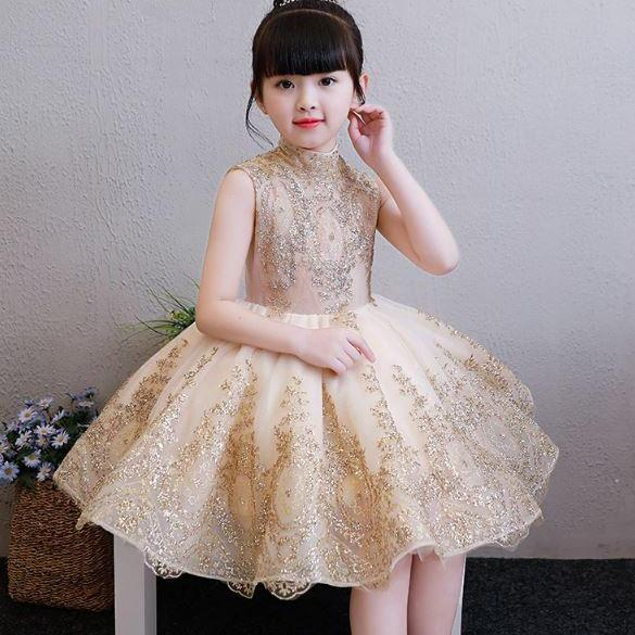 Girls Luxury Golden Gowns Girls Golden Dress Mandarin Collar Beaded Dresses Formal Dress Flower Girls Dresses