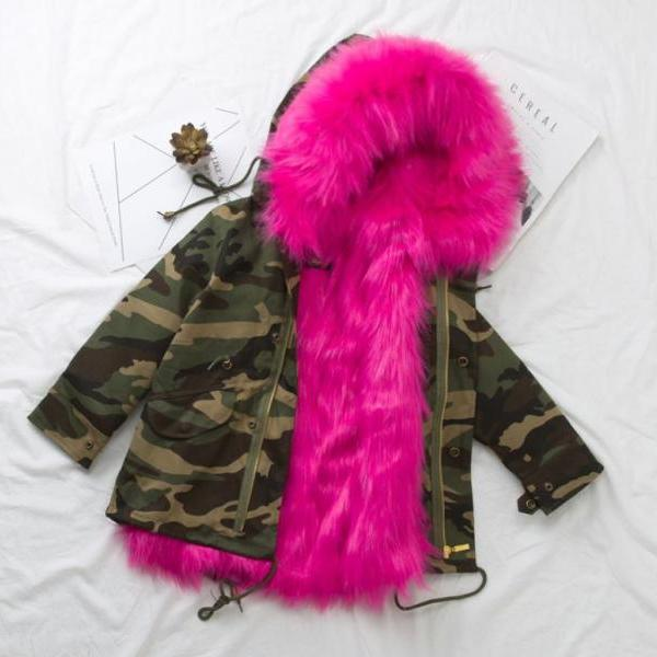 RSS Boutique Hotpink Hooded Winter Coats for Baby Girls Ages 9-10Years Old,11-12Years Old Camouflage Coats