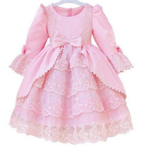 RSS Boutique Princess Pink Dress Ballgown Dress Costume Flower Girls Dresses with FREE Pink Bow Headband