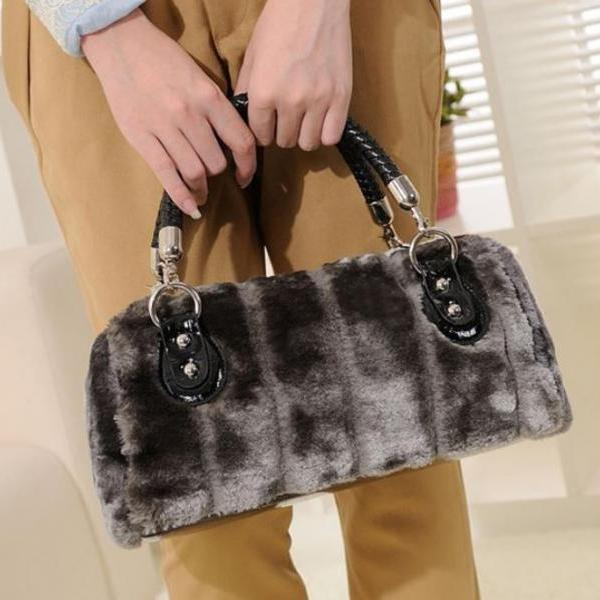 Interesting Velour Gray Tote Bags Gray Log Bags READY TO SHIP Handbags for Women