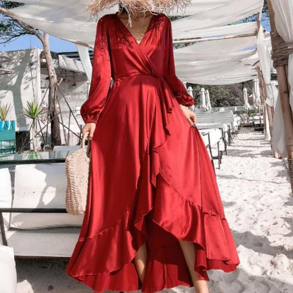 Solid Ruffled Red Silk Maxi Dress for Women High Quality Red Silk Robes for Women Free Shipping Red Beach Dress FREE White Earrings