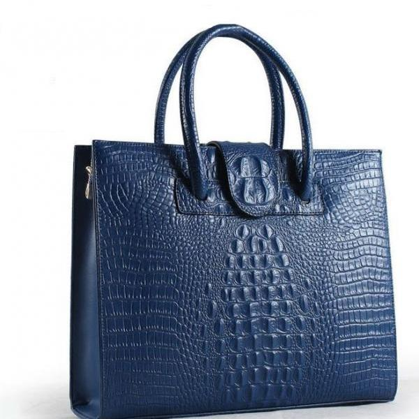 High Quality Business Computer Laptops Leather Bags for Women with Croc Skin Grain Nice Blue Tote Bags FREE Shipping with FREE Key Chains