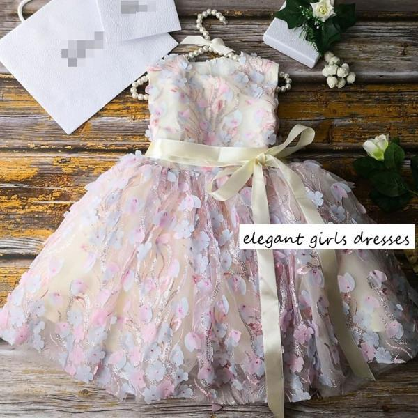 New Fashion Pink Tutu Dress for Flower Girls Ballgown Pageant Dress Princess Elena Creamy Pink Dress FREE Tiara-Daddy-Daughter Dance Outfit
