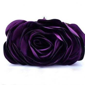 FREE SHIPPING! Purple Rose Eye Catching Clutch for Women-Elegant, Eye Catching Rare Rose Clutch- Evening Purse for Women